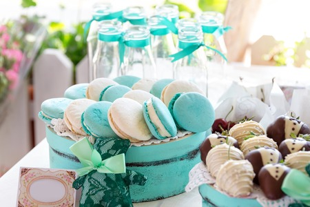 macarons: Turquoise macarons cakes. Wedding cakes and deserts