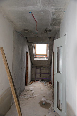 rebuilding: Rebuilding apartments. The room during renovation. Concrete interior apartments. Development Stock Photo