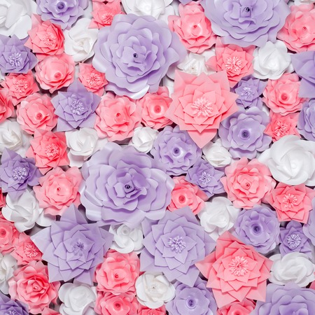 Colorful paper flowers background floral backdrop with handmade colorful paper flowers background floral backdrop with handmade roses for wedding day or birthday stock mightylinksfo