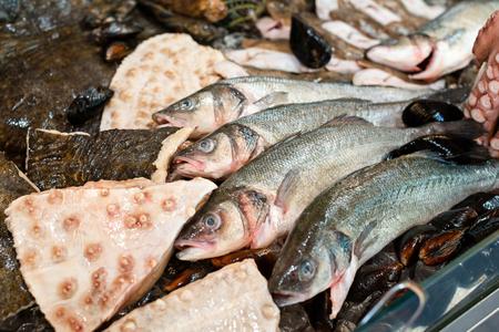 manjar: pescado fresco y mejillones en el mercado delicadeza. Mariscos