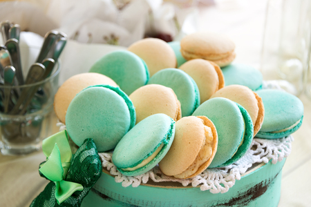 fondant fancy: Turquoise macarons cakes. Wedding cakes and deserts