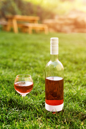 One glass and bottle of red or rose wine in autumn vineyard in green grass. Harvest time, picnic, fest theme