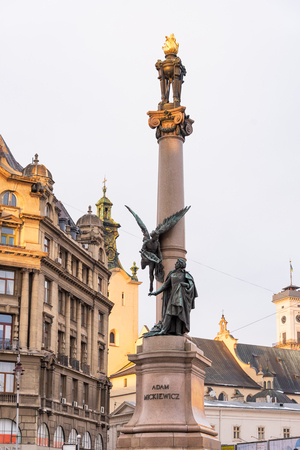 national poet: Monument to Adam Mickiewicz in Lviv, Ukraine Stock Photo