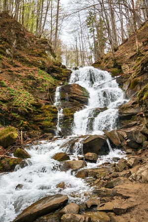 Forest waterfall and rocks covered with moss. Carpathians, Shypit, Ukraine, Europe