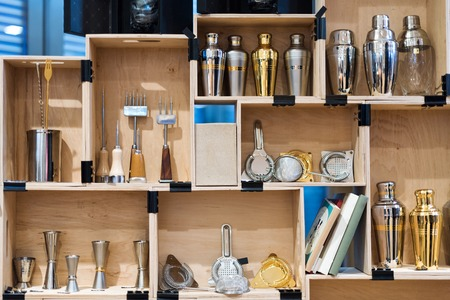 Barman equipment. Bartender tools in wooden boxes Standard-Bild
