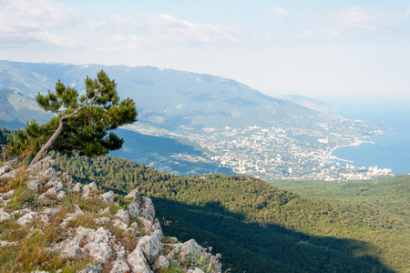 Landscape with rocks and sea. Over the Black Sea. View of South Coast of Crimea from Ai-Petri