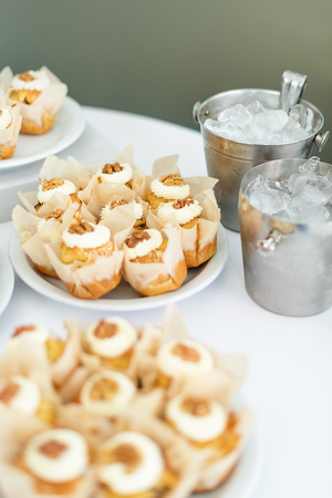 chantilly: Wedding cakes on the table. Sweet desserts. Selective focus.