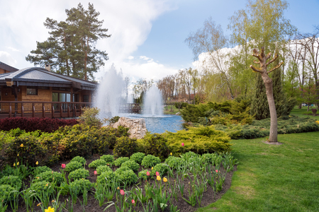 back yard pond: Ornamental gardens with lake, blooming bushes and fountain