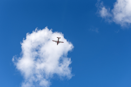 Airplane in the sky and beautiful cloud. Business summer vacation and travel adventure concept Stock Photo