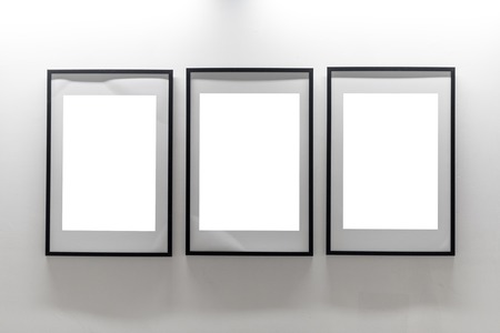 Mock Up. Blank Picture Frames On White Wall. Gallery Wall With ...