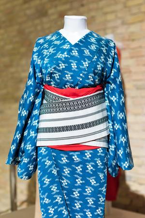 Woman Kimono costume on mannequin. Traditional Japanese Maiko dress. Geisha clothing