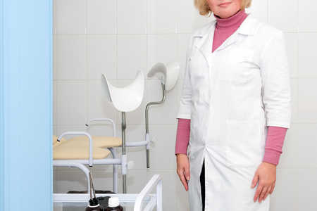 Gynecologist waiting for the next patient, check up healthcare. Equipment medicine, medical furniture, hospital, genicology, womens consultation Imagens