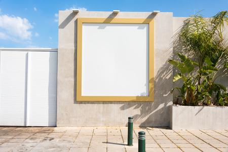 Blank billboard outdoor. Mock up. Empty advertising stand, public information board