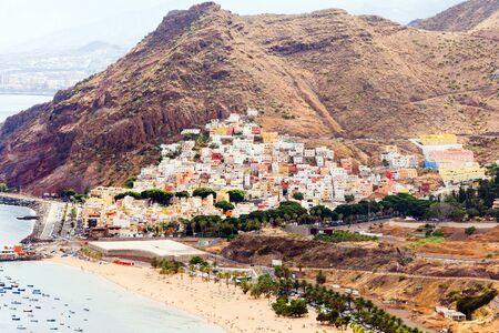 Aerial view on famous beach of las Teresitas beach, Tenerife, Canary islands, Spain. Stok Fotoğraf