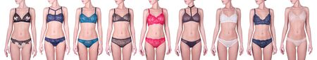 Sexy women in beautiful lingerie. Different underwear styles. Woman wearing different sets of underwear, collage of photos