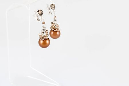 Pair of earrings with pearls. Luxury jewelry