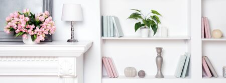 Light luxury interior with fireplace and flowers. Shelves with books and decorations Reklamní fotografie - 126570950
