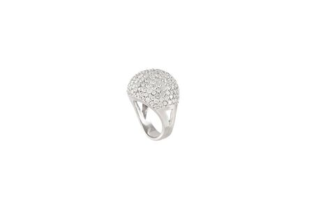 Diamond ring isolated on white background. Ring with diamonds. White gold. Фото со стока