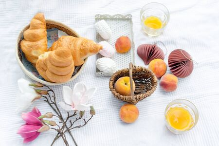 healthy summer picnic laid out on white cloth on green grass with croissants, fresh fruit, juice and marshmallows. Outdoor party in the garden