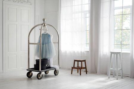 Skirt hanging on mobile hanger rack in minimalist white room interior. Hotel interiors, walk-in closet Reklamní fotografie