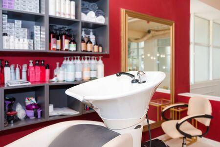 Hairdressers workplace. Modern beauty salon. Hair salon interior business