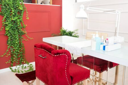 Interior of empty modern nail and beauty salon. Long table with lamp, manicure interior business. Reklamní fotografie