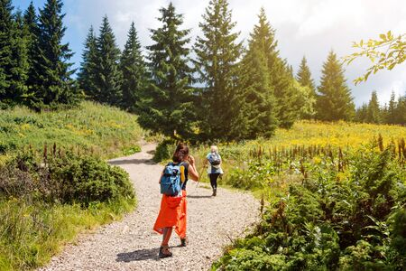 Friends having fun together, women hiking in the mountains. Happy travelers, goal, success, freedom and achievement concept. Carpathian mountains, Hoverla, Ukraine. Stock Photo