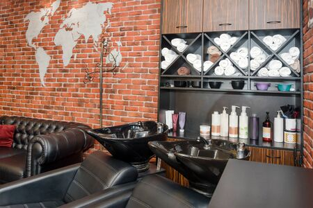 Hairdressers workplace. Modern beauty salon. Hair salon interior business