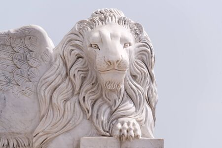 Winged Lion of Venice statue at Foinikoudes promenade. Smiling lion monument, Larnaca. Cyprus.