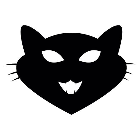 Cat head shape icon. Simple silhouette isolated on white background. Vector illustration. Archivio Fotografico - 134403407