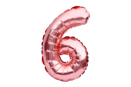 Number 6 six, made of rose golden inflatable helium balloon. Gold pink foil balloon font part of full set of numbers, isolated on white. Birthday party celebration, sales and discounts concept Banco de Imagens