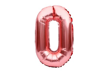 Number 0 zero, made of rose golden inflatable helium balloon. Gold pink foil balloon font part of full set of numbers, isolated on white. Birthday party celebration, sales and discounts concept.