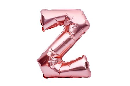 Letter Z made of rose golden inflatable helium balloon isolated on white. Gold pink foil balloon font part of full alphabet set of upper case letters Stock fotó