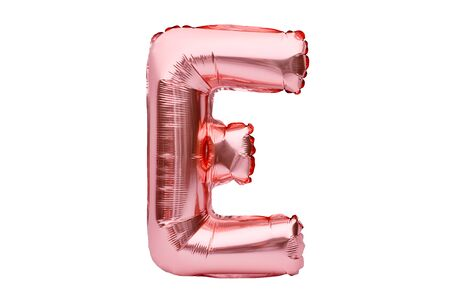 Letter E made of rose golden inflatable helium balloon isolated on white. Gold pink foil balloon font part of full alphabet set of upper case letters Stock fotó