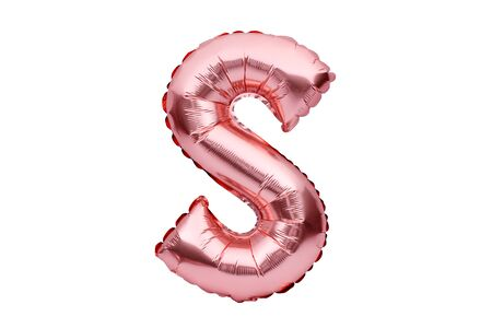 Letter S made of rose golden inflatable helium balloon isolated on white. Gold pink foil balloon font part of full alphabet set of upper case letters Stock fotó