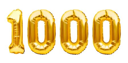 Number 1000 one thousand made of golden inflatable balloons isolated on white. Helium balloons, gold foil numbers. Party decoration, 1000 subscribers or followers and likes. Stock Photo
