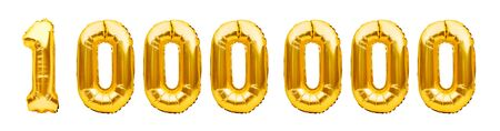 Number 1000000 one million made of golden inflatable balloons isolated on white. Helium balloons, gold foil numbers. Party decoration, number of reached goal of subscribers or followers and likes.