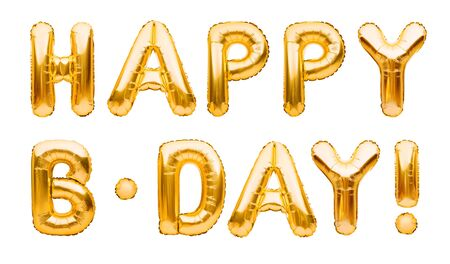 Words HAPPY B-DAY made of golden inflatable balloons isolated on white background. Gold foil helium balloons forming phrase. Birthday congratulations concept, HBD phrase, happy birthday wishes.