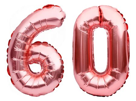 Number 60 sixty made of rose golden inflatable balloons isolated on white. Helium balloons, pink foil numbers. Party decoration, anniversary sign for holidays, celebration, birthday, carnival.