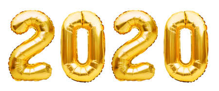 Golden Christmas 2020 balloons isolated on white background. Helium balloons, gold foil numbers. Numbers for Happy New Year 2020. Party decoration, anniversary sign for holidays, celebration, carnival