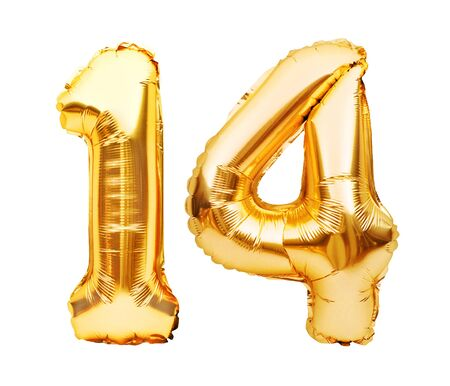 Number 14 fourteen made of golden inflatable balloons isolated on white. Helium balloons, gold foil numbers. Party decoration, anniversary sign for holidays, celebration, birthday, carnival Imagens
