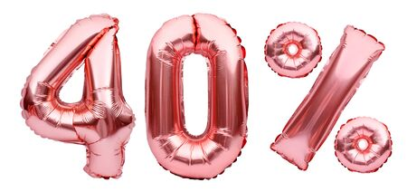 Rose golden fourty percent sign made of inflatable balloons isolated on white.Helium balloons, pink foil numbers. Sale decoration, black friday, discount concept.40 percent off, advertisement message