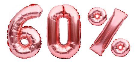 Rose golden sixty percent sign made of inflatable balloons isolated on white.Helium balloons, pink foil numbers. Sale decoration, black friday, discount concept. 60 percent off, advertisement message