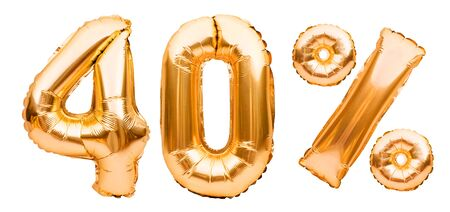 Golden fourty percent sign made of inflatable balloons isolated on white. Helium balloons, gold foil numbers. Sale decoration, black friday, discount concept. 40 percent off, advertisement message