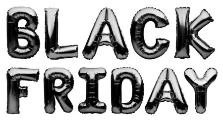 Black helium balloons forming the words BLACK FRIDAY isolated on white background. Chrome black inflatable balloons, sale, discount, black friday concept. 免版税图像