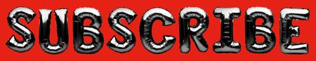 Words SUBSCRIBE made of black inflatable balloons isolated on red background. Helium balloons chrome black foil letters forming word subscribe. Social network concept