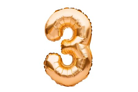 Number 3 three, made of golden inflatable helium balloon. Gold foil balloon font part of full set of numbers, isolated on white. Birthday party celebration, sales and discounts concept Banco de Imagens