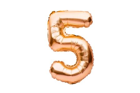 Number 5 five, made of golden inflatable helium balloon. Gold foil balloon font part of full set of numbers, isolated on white. Birthday party celebration, sales and discounts concept