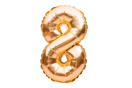 Number 8 eight, made of golden inflatable helium balloon. Gold foil balloon font part of full set of numbers, isolated on white. Birthday party celebration, sales and discounts concept