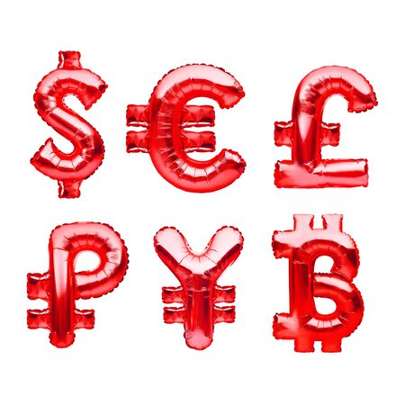 Money symbols made of red balloons. Dollar, euro, pound, ruble, yen and bitcoin. Major monetary units of the world, currency symbols made of inflatable foil balloon. Investment and banking concept 免版税图像